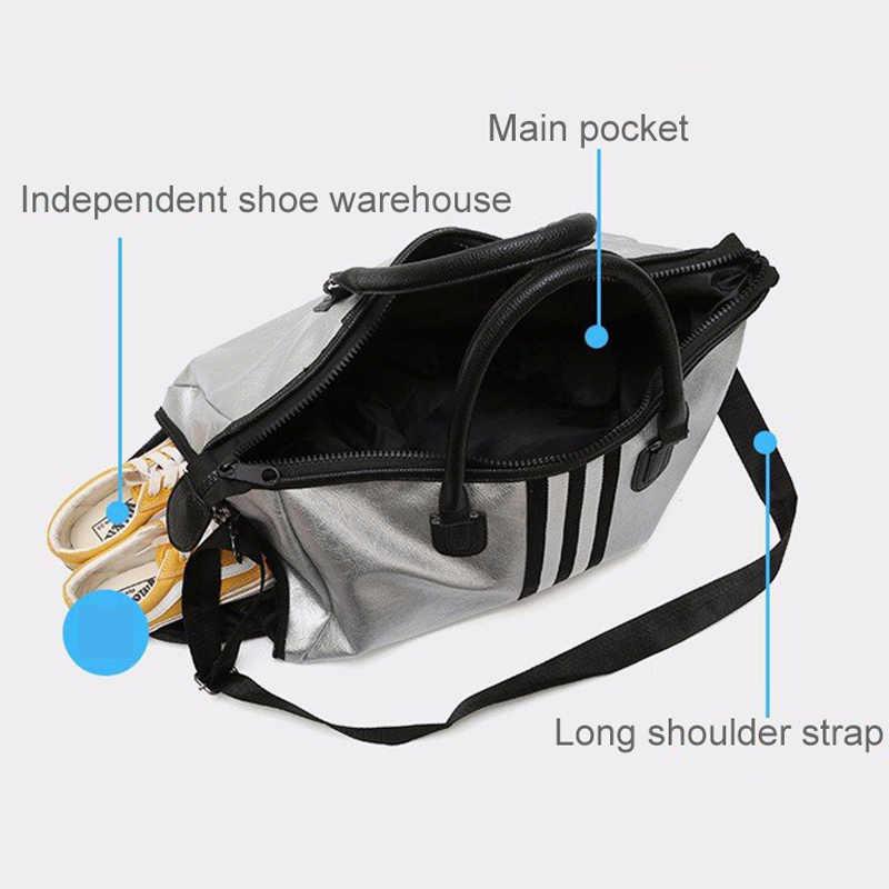 PU deri spor Fitness Yoga çantaları kadın seyahat spor çanta Crossbody su geçirmez eğitim spor çantaları ayakkabı depolama XA932WD