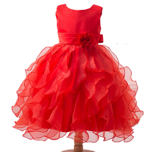 2-13T Girls Red Flower Princess Dresses for Wedding Sleeveless O Neck Flower Kids Evening Ball Gowns Pageant Dress Party Frocks