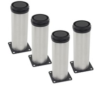 4pcs 250mm Height Furniture Legs Adjustable 15mm Silver Tone Stainless Steel Table Bed Sofa Leveling Foot
