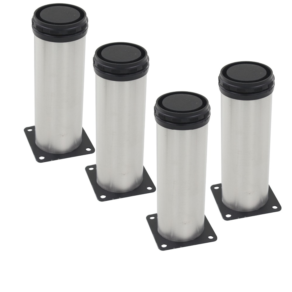 4pcs 250mm Height Furniture Legs Adjustable 15mm Silver Tone Stainless Steel Table Bed Sofa Leveling Foot Cabinet Legs 4pcs 150mm height furniture legs adjustable 10 15mm cabinet feet silver tone stainless steel leveling feet for table bed sofa