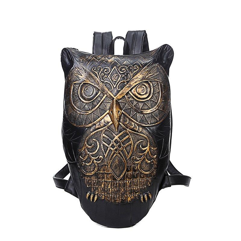 Cool Owl Backack 3D High Capacity Computer Waterproof Travel Bag Owl Pattern Pu Leather Shoulder Bags pu leather owl choker