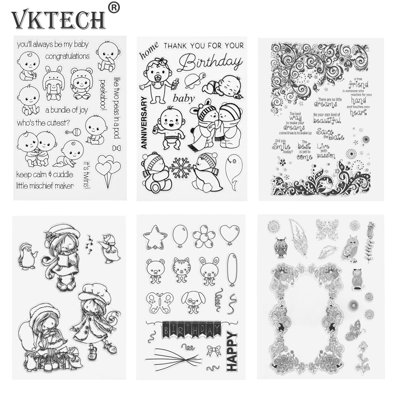 Transparent Clear Stamp Silicone Stamp Seal for DIY Scrapbooking Photo Album Decorative Clear Stamps Sheets
