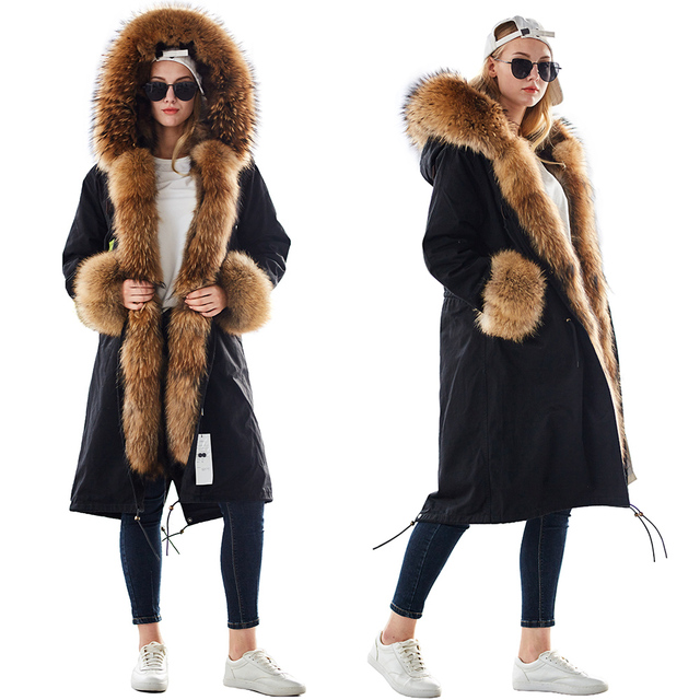 Mao mao kong  Winter Woman natural fur overcoat plus size Women parkas black raccoon fur lining X long warm jacket coats