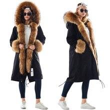 Mao mao kong inverno mulher natural casaco de pele plus size mulher parkas preto forro de pele de guaxinim x longo casaco quente