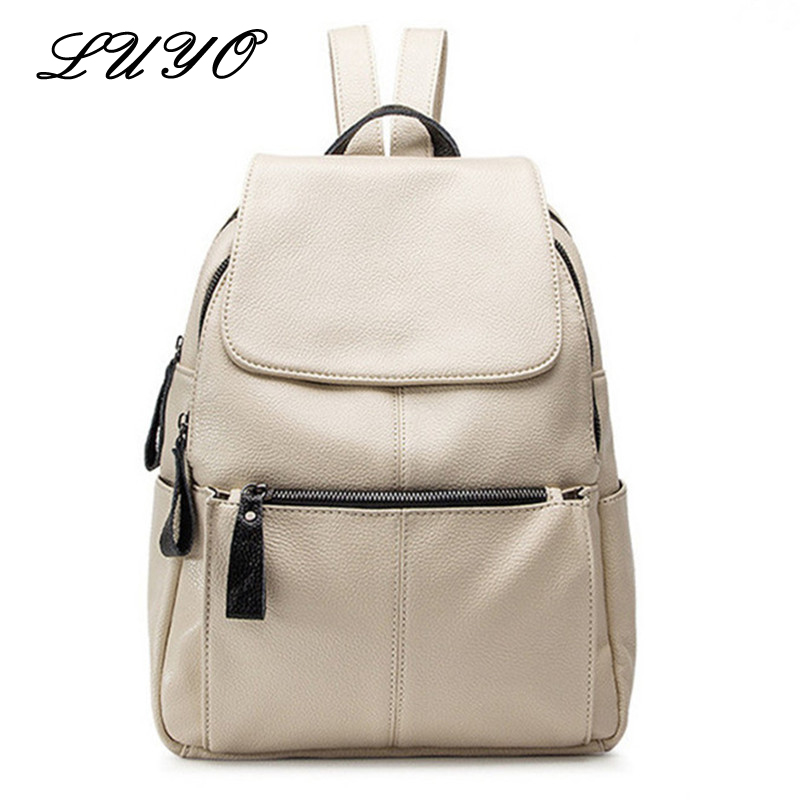 Luyo Fashion Genuine Leather Travel Girls Backpack Youth Women Mochilas Feminina School Bags For Teenagers Sac A Dos Femme doodoo fashion streaks women casual bear backpacks pu leather school bag for girl travel bags mochilas feminina d532