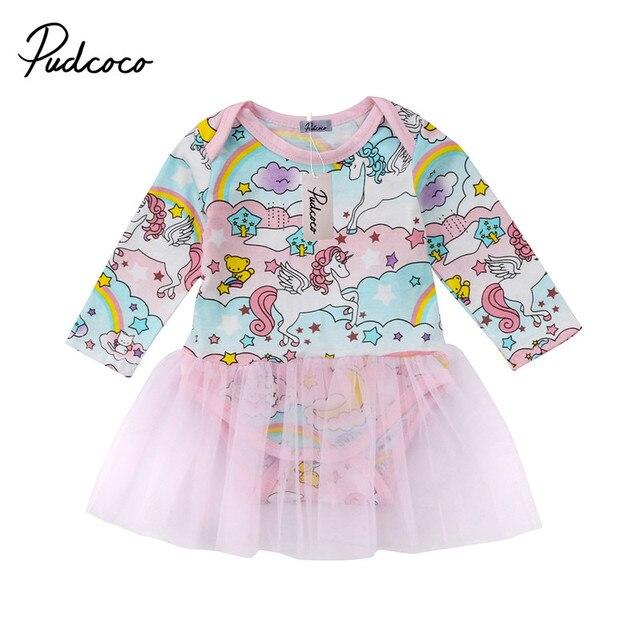 2018 nueva marca Infantil Niño bebé recién nacido chico chica manga larga imprimir unicornio vestido ropa Tutu vestido de gasa ropa de dibujos animados