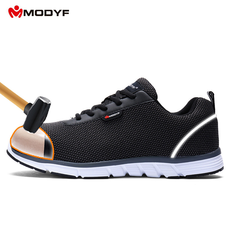 1c5f6e266041 Free shipping men modyf safety working shoes steel toe cap shoes lightweight  air mesh breathable trekking shoes size EU39-46