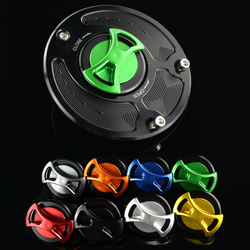 CNC Keyless Gas Fuel Tank Cap Cover for Kawasaki NINJA ZX6R/636 ZX636R ER-6n ZX10R ZX1400 650R ZX14 ZX14R Z1000 Z750 Z800 Z900 bjmoto 7 colors for kawasaki z750 z800 z900 z1000 cnc aluminum rear brake fluid reservoir cover cap