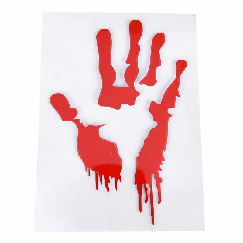 Red Bloody Blood Hand Print Vinyl Car Decal Zombie Creepy Dead Sticker  Creepy personality 15cm(length)*15cm(width)