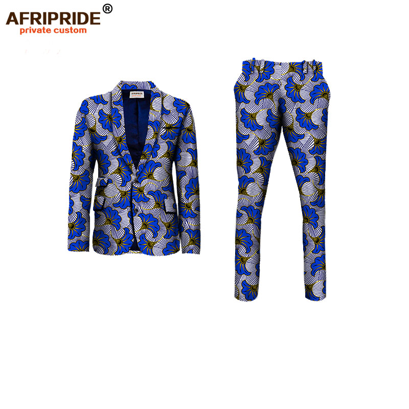 2019 African clothes for men slim fitted formal suits jacket+pant 2-pieces setswedding work place business AFRIPRIDE A731605