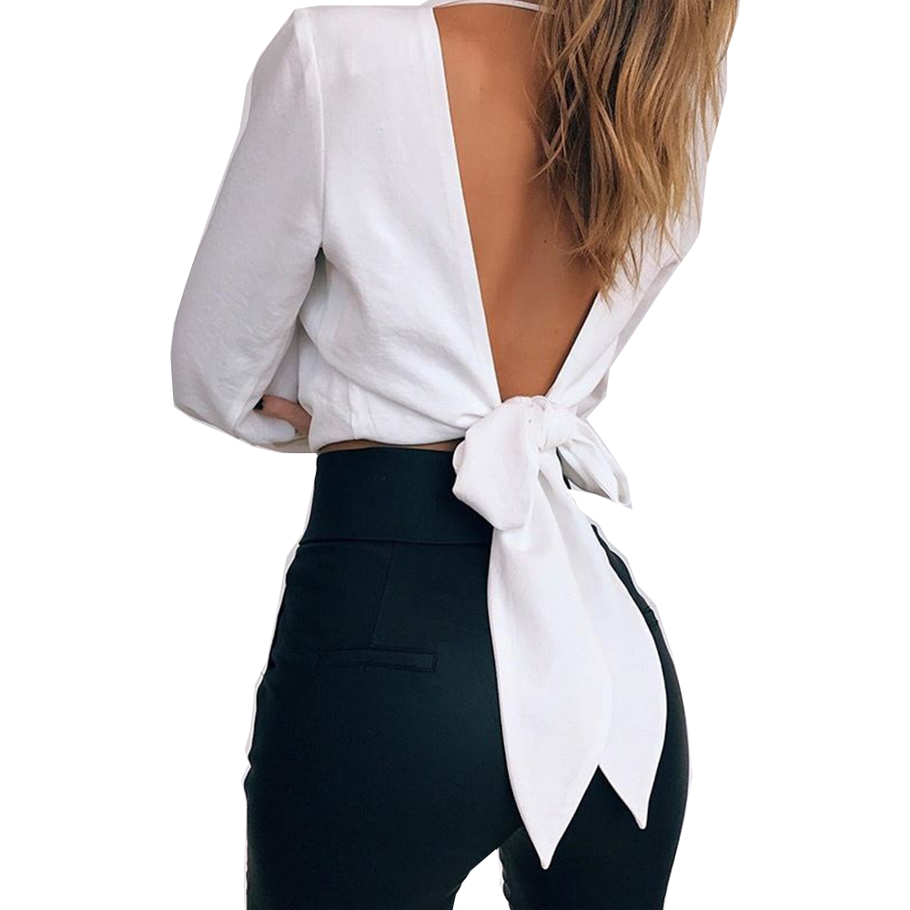 2019 Tshirt Women New Fashion Style Womens Sexy V-neck Slim Waist Long-sleeved Knot Backless Hot Sell Clothing Vestidos SJVD5052