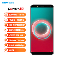 Ulefone Power 3S 6.0 18:9 FHD+ Mobile Phone MTK6763 Octa Core 4GB RAM 64GB ROM Android7.0 OTG 16MP 6350mAh Fingerprint