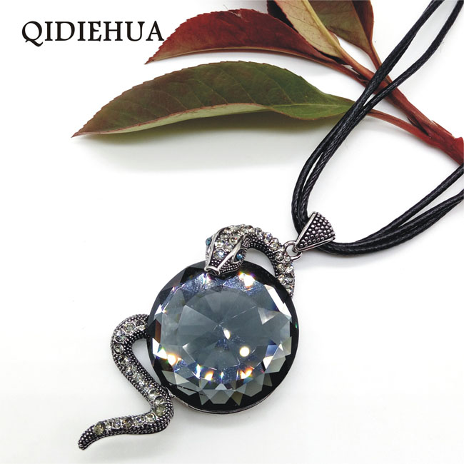 QIDIEHUA Fashion Antique Silver Snake Pendant Necklace Woman Black Rope Choker J