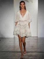 Окрашенные Сердце Белое солнце мини платье Для женщин шелковые кружева хлопок и лен глубоким v образным вырезом пикантные летние в горошек