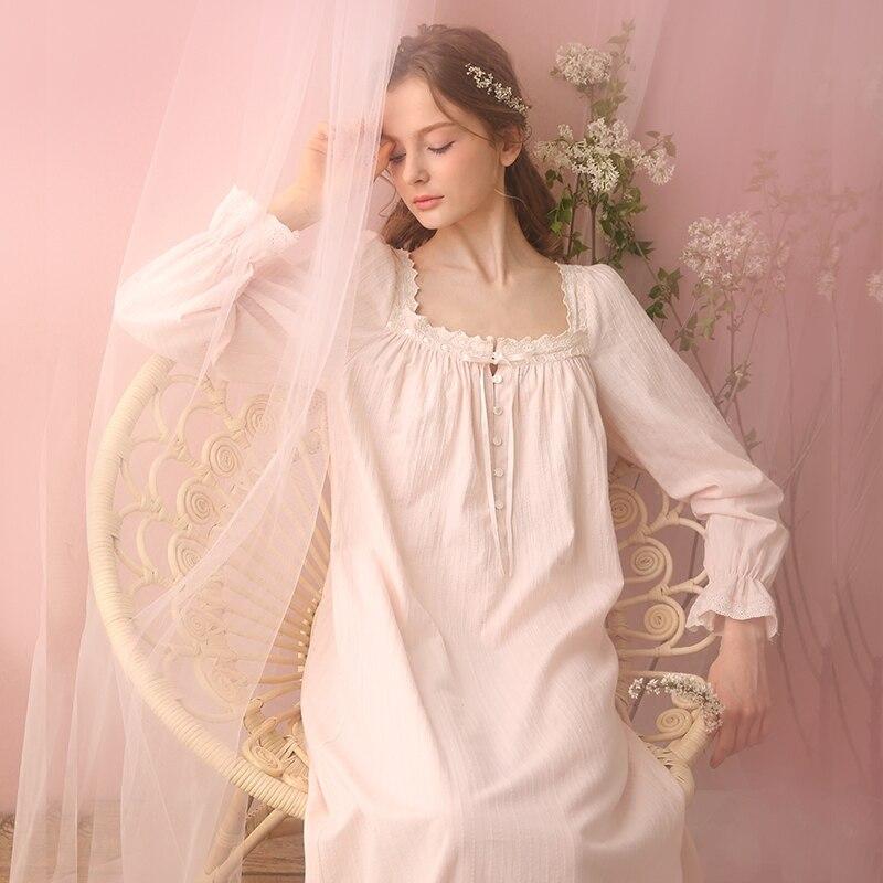 Free Shipping 100% Cotton Princess Nightdress Royal Pijamas Pink and Purple  Nightgown Women s Long Sleepwear Lace Nightshirt-in Nightgowns    Sleepshirts . adad701ab