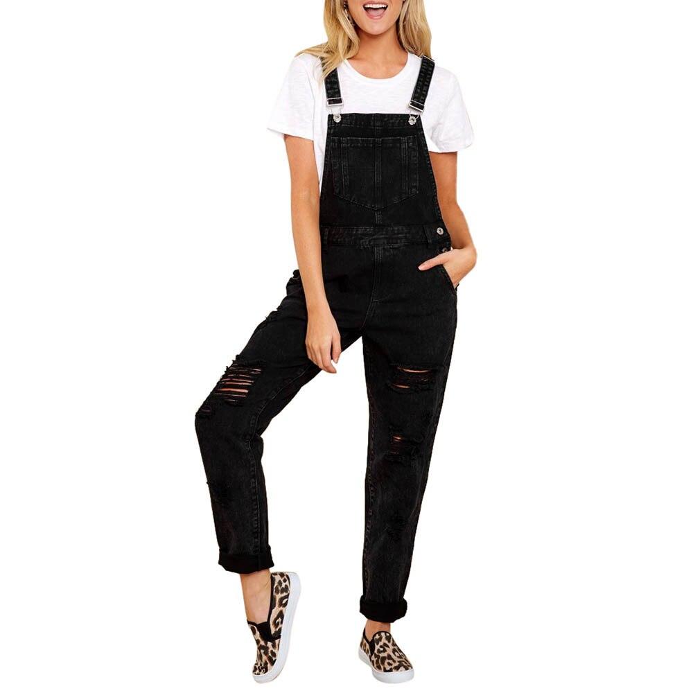 Plus Size Women Straps Jumpsuit Jeans Hole Bib Pants Overalls Rompers Trousers