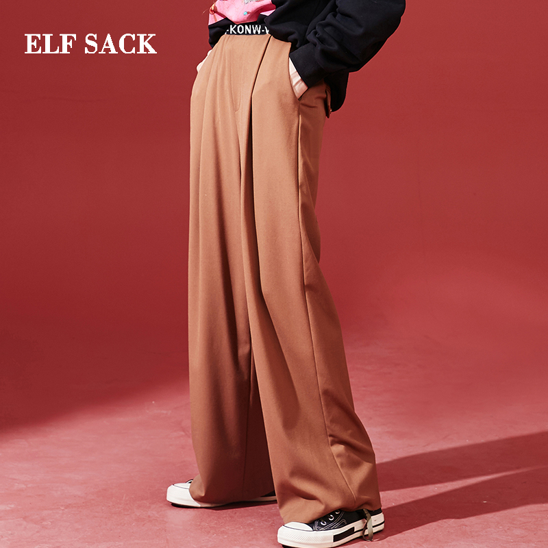 ELF SACK New Chic Woman   Pants   Solid Streetwear   Wide     Leg     Pants   Women Casual Oversized Femme Trousers Full Length Female   Pants