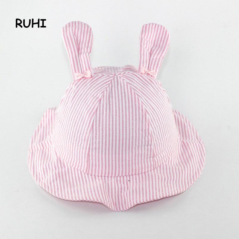 RUHI/ г. Осенне-весенняя шапка для маленьких девочек, детская шапочка для девочек, зимние шапки с кроликом для девочек, Полосатые Шляпы для девочек BMZ42