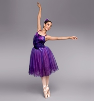 Free Shipping Kid Adult Ballet Dress Bailarina Lyrical Balet Professional Dance Dress Purple Velvet Material