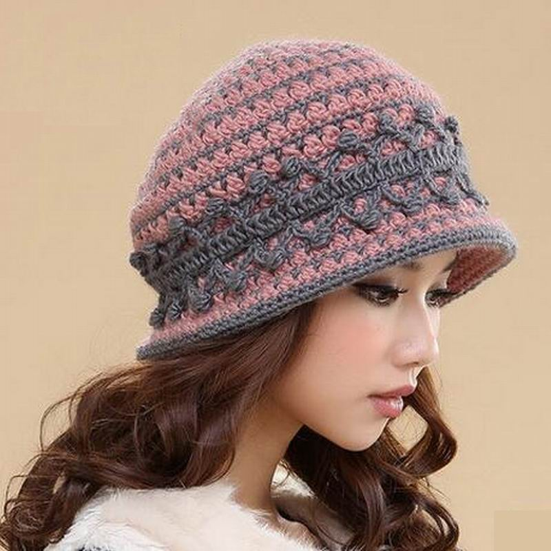 2018 Promotion Rushed Solid Adult Casual Women Wool Leisure Flowers Touca Hats Wool Knitted Hat Winter Women's Warm Cap M-1332