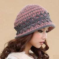 2018 Promotion Rushed Solid Adult Casual Women Wool Leisure Flowers Touca Hats Wool Knitted Hat Winter Women's Warm cap M 1332