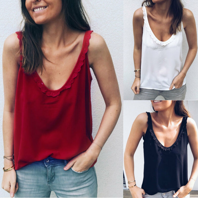 Fashion Summer Loose Sleeveless Casual   Tank   T-Shirt Blouse Women Solid Black Red White   Tops   Vest
