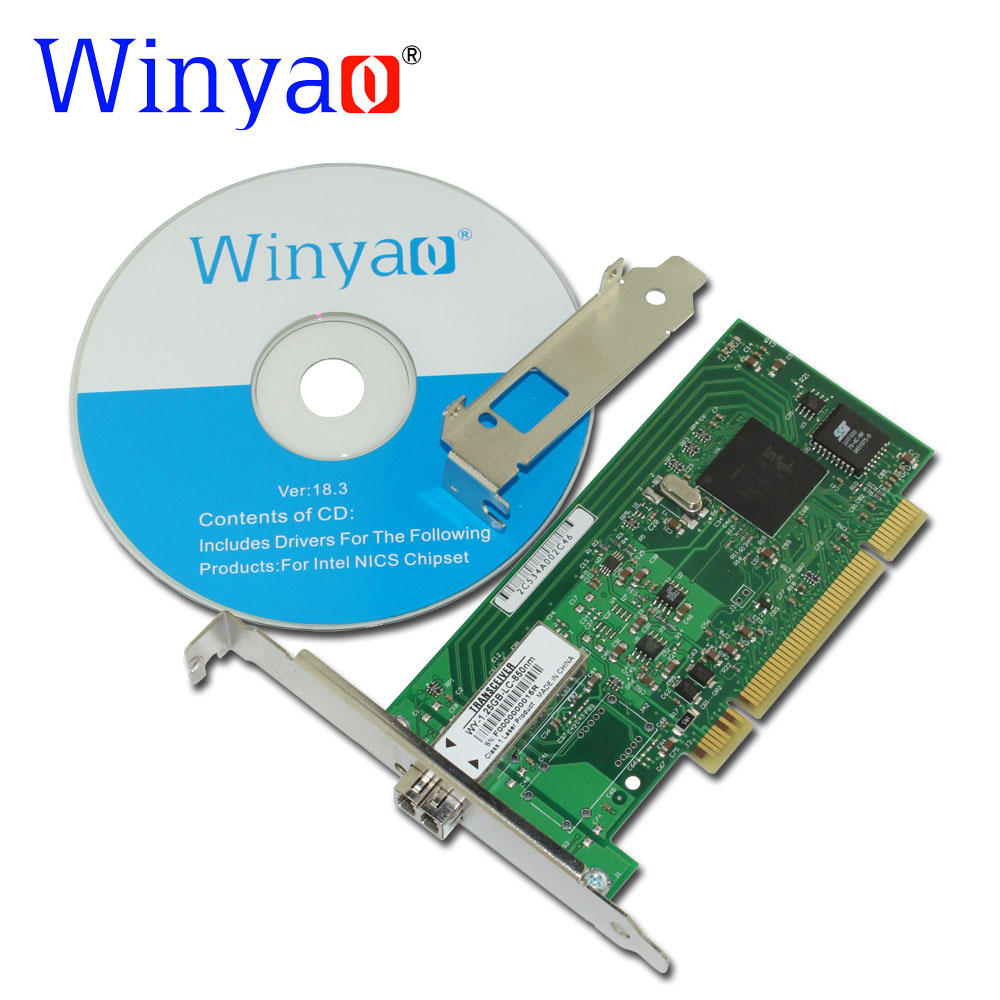 Winyao WY545F PCI Desktop Gigabit Fiber lan card for Intel 82545 PWLA8490MF Single-Port LC(850nm) fiber 1000Mbps network card winyao wyi210f pci express x1 dual port 1000mbps sfp lc 850nm gigabit ethernet lan fiber server network card for intel i210 nic
