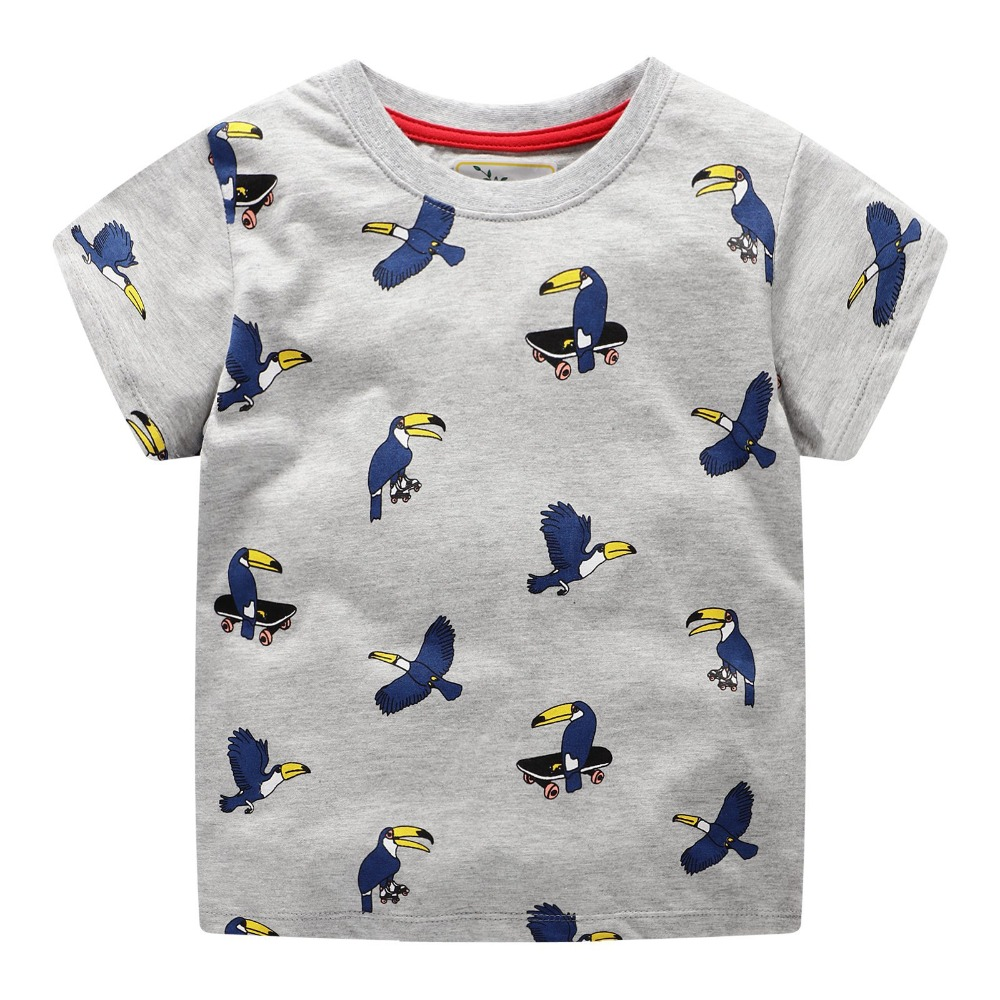 2019 New Brand Summer 2 7 years baby Kids boys cartoon Printing Parrot Skating Short O neck Quality Cotton t shirts Tops shirt in T Shirts from Mother Kids