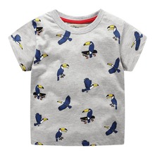 2019 New Brand Summer 2-7 years baby Kids boys cartoon Printing Parrot Skating Short O-neck Quality Cotton t-shirts Tops shirt