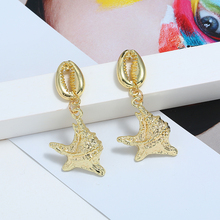 2019 Hot Sale Drop Gold Shell Pentagram Earrings For Women Long Gold Metal Delicate Brincos Earrings Wedding Wholesale Jewelry pair of delicate pentagram earrings for men