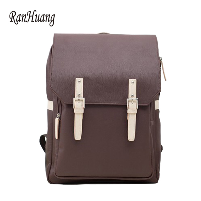 RanHuang Preppy Style Women and Men PU Leather Backpack Fashion School Bags For Teenagers Girls Boys Vintage mochila feminina 2017 new fashion backpacks men travel backpack women school bags for teenagers girls pu leather preppy style backpack