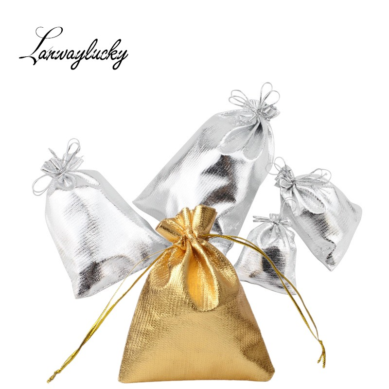 50pcs/Lot Silver Gold Foil Cloth Drawstring Bags Small Jewelry Pouches Organizer Satin Christmas Wedding Gift Jewelry Pouch Bag