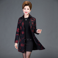Autumn New Middle Aged Middle Aged Women Mother Dress Coat Lady Long Coat Lapel Korean Slim