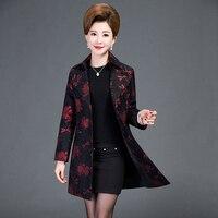 Autumn New Middle Aged Middle Aged Women Mother Dress Coat Lady Long Coat Lapel Korean Slim