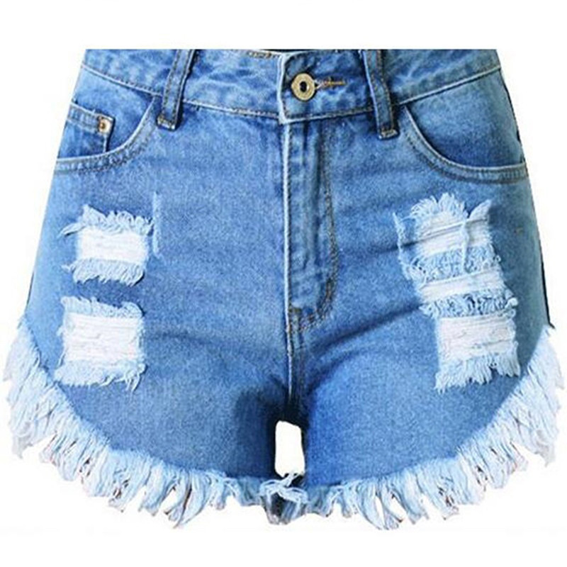Fashion Women Jeans Shorts Summer Shorts Woman Female Light Blue High Waist Shorts For Women Worn Burr Hole Shorts Tassel