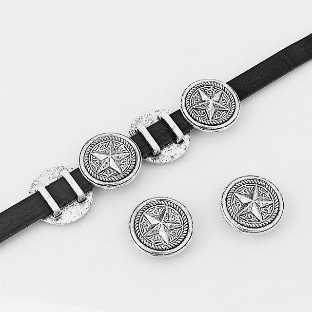 10 pièces rondes sculptées étoiles breloques perles curseur entretoises pour 10.5*3mm cordon en cuir plat