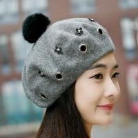 Beckyruiwu Party Fashion Headwear Pure Wool Beret Cap Women Hip Hop Rivet Hole Real Rabbit