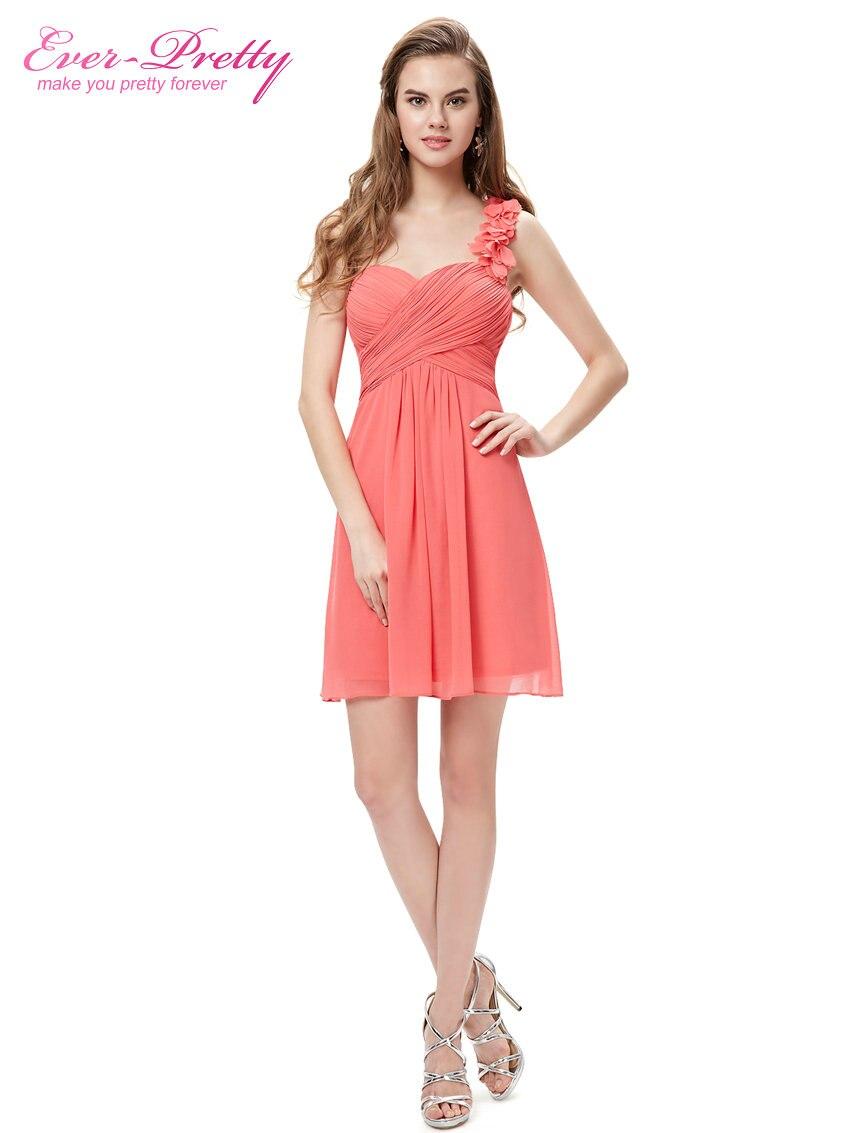 Цветы розовый персик коралловый цвет одно плечо шифон короткие элегантные коктейльные платья HE03535 новое поступление - Цвет: Coral