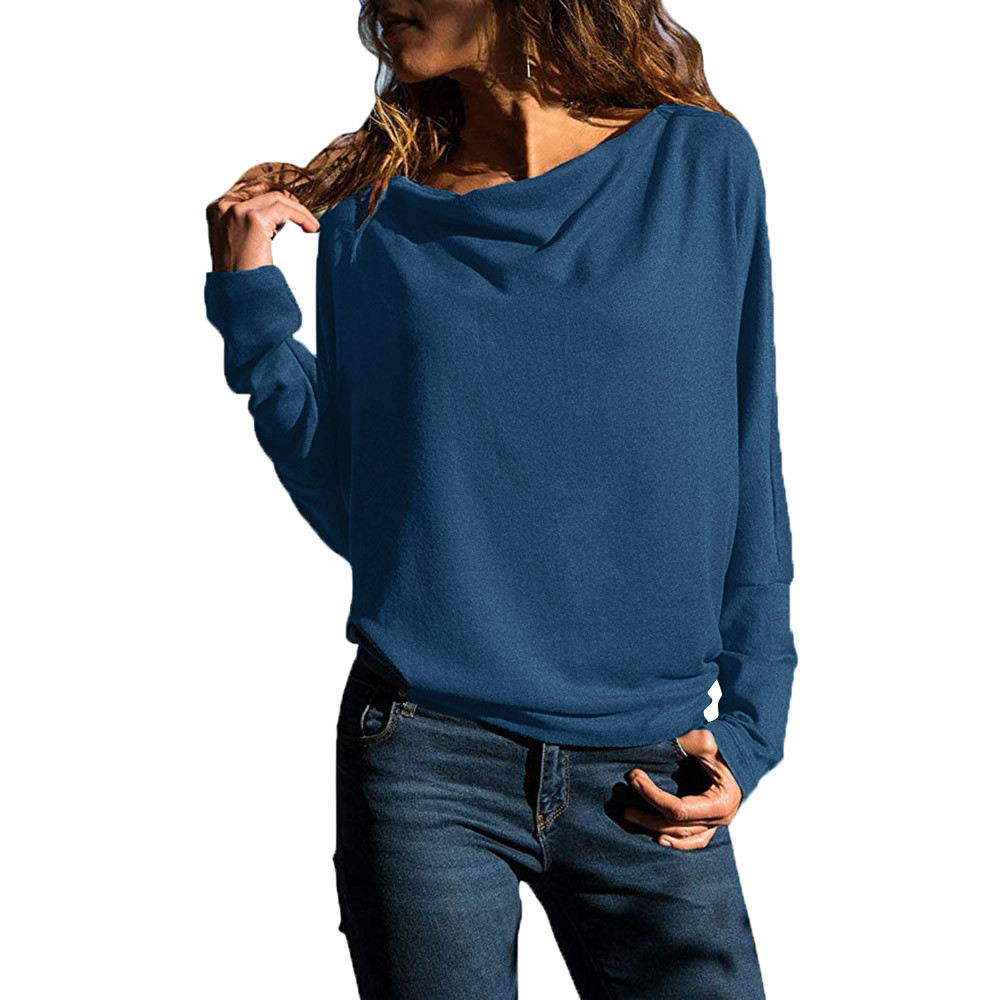 Womens solid tops blouses casual long sleeve pullover sweatshirt loose fit tops blouses women tops loose shirts