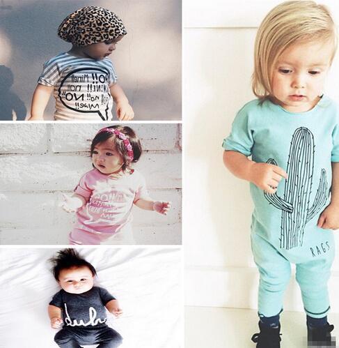 Baby Rompers Newborn Cactus Romper Striped Letter Cotton Jumpsuit Infantil Christmas roupas de bebe overall clothes ins hot
