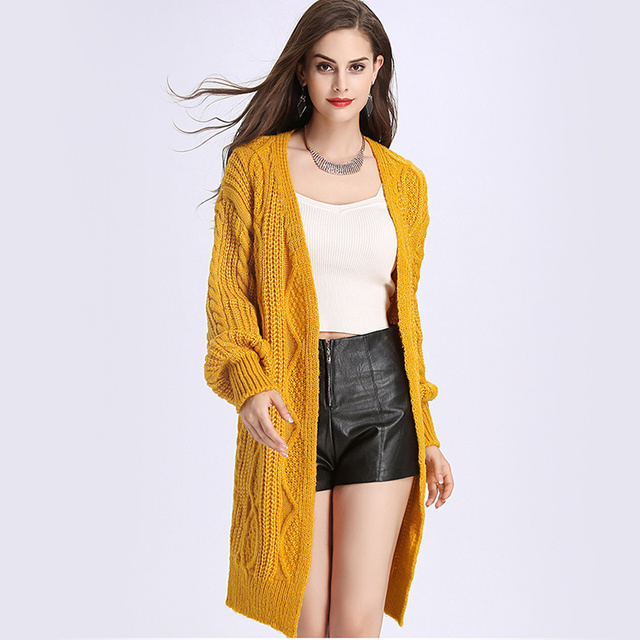 af0b56e534 Yellow Twisted Long Cardigan Women Sweater Lantern Sleeve Knitted Ribbed  Loose Coat 2018 Autumn Winter Woman
