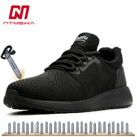Men Breathable Safety Shoes Steel Toe Black Work Shoes Wearproof Sneakers Large Size 36 48 MB264
