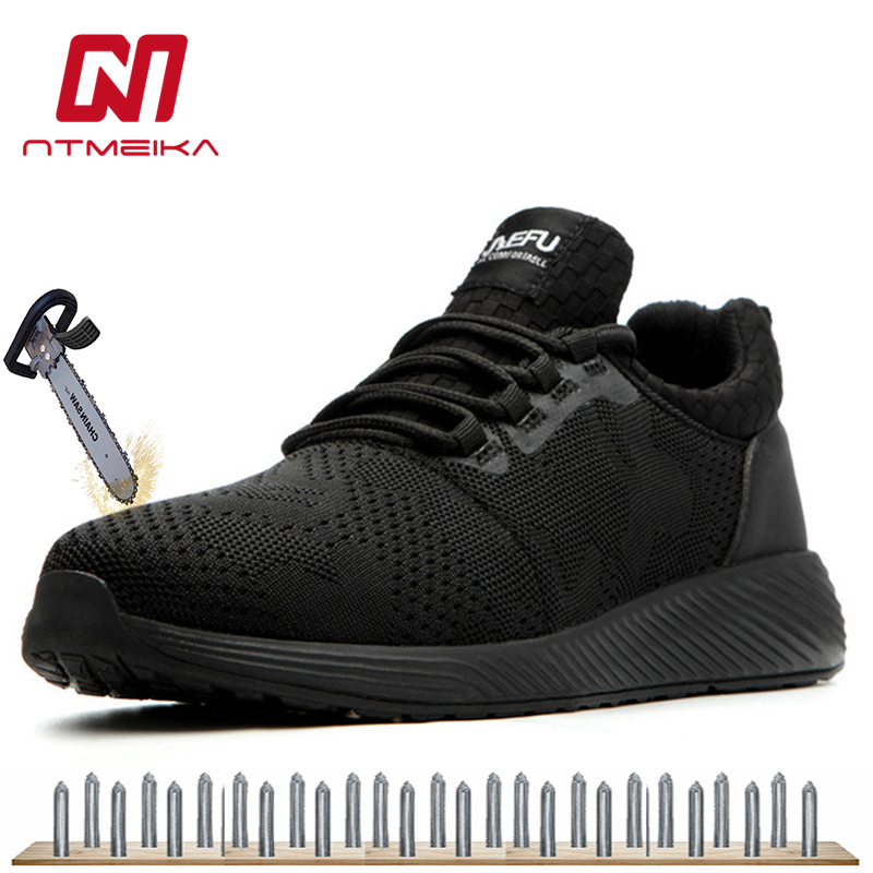 Men Breathable Safety Shoes Steel Toe Black Work Shoes Wearproof Sneakers Large Size 36-48 MB264