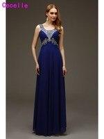 2017 Prawdziwe Sparkle Długi Piętro Długość Royal Blue Prom Dresses Zroszony Kryształami Świecący Nastolatki Formalna Wieczór Balu Suknie Wysokiej Jakości