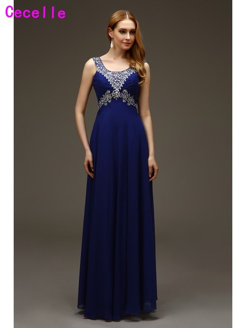 59f3243002f 2019 Real Sparkle Long Floor Length Royal Blue Prom Dresses Beaded Crystals Sparkly  Formal Teens Evening Prom Gowns High Quality