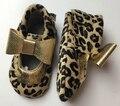 50 paris/lote Genuíno Leopardo de Couro Mary Jane Do Bebê Mocassins sapatos Nó arco meninas Bebê Recém-nascido firstwalker Moccs Anti-derrapante sapatos