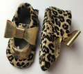 50paris/lot Leopard Genuine Leather Mary Jane Baby Moccasins shoes Knot bow Moccs girls Newborn Baby firstwalker Anti-slip shoes