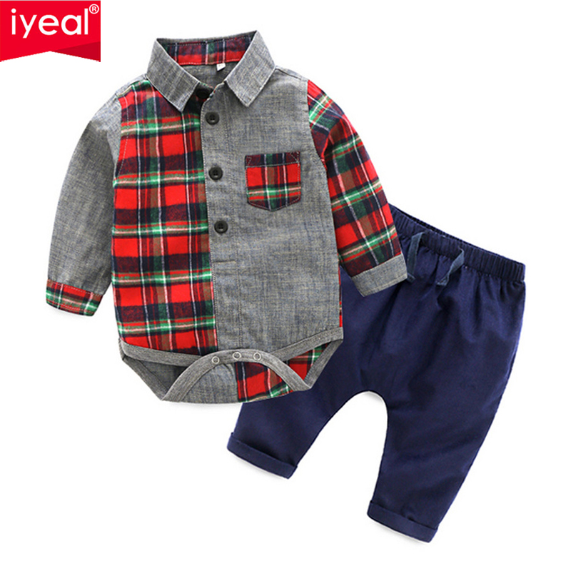 IYEAL Baby Boy Clothes Newborn Toddler Boys Clothes Set Cotton Baby Clothing Suit (Romper + Long Pants) Plaid Infant Clothes t shirt tops cotton denim pants 2pcs clothes sets newborn toddler kid infant baby boy clothes outfit set au 2016 new boys