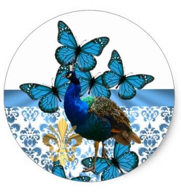 Купить с кэшбэком 1.5inch Pretty Peacock and blue butterflies Classic Round Sticker