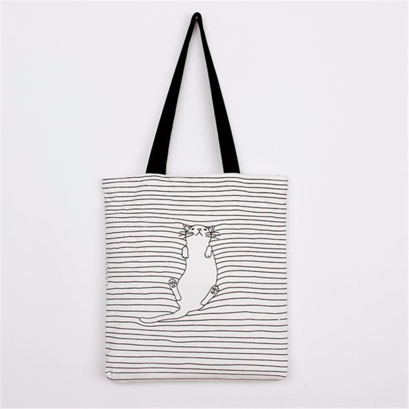 Women Striped Napping Cat Shoulder Bag Shopping Bag Travel Bag designer handbags high quality bolsas feminina o bag
